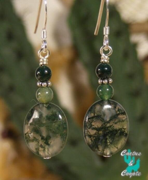 Healing Moss Agate Flat Oval Earrings
