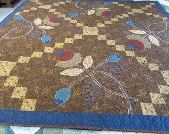 Primitive Paisley Pieced Quilt with Floral Applique--111