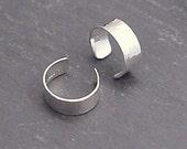Sterling EAR CUFF PAIR - Narrow Silver Hammered Band Ear Cuffs