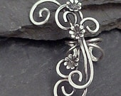 Sterling Flower Ear Cuff SECRET GARDEN Handcrafted Silver Ear Wrap