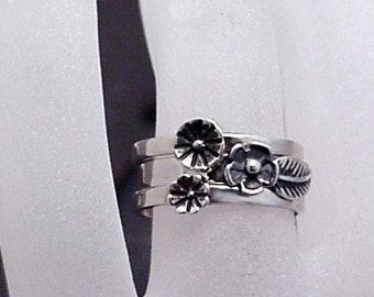 Sterling Flower Stack Rings - BOUQUET - Silver Flower & Leaf 3 Stacking Rings