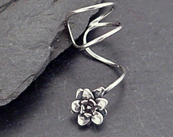 Sterling Silver Flower EAR CUFF - Handcrafted PETALS