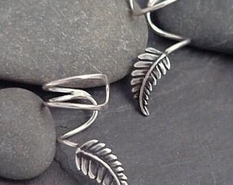 """Sterling Silver Leaf EAR CUFF PAIR - """"New Leaf""""  Swirly Sterling Ear Cuffs"""