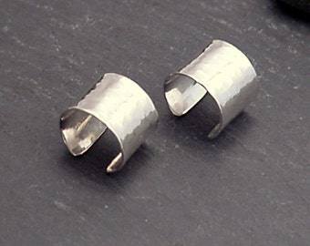 Sterling EAR CUFF PAIR - Wide Hammered Silver Band Ear Cuffs