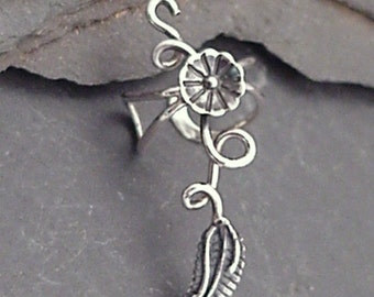 "Sterling Silver Flower and Leaf Ear Cuff - ""MORNING GLORY"" - 925 Ear Wrap"