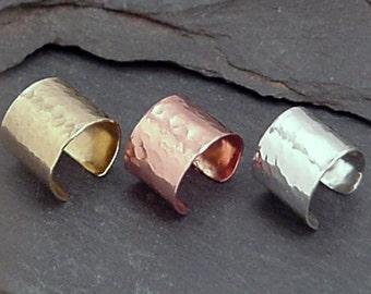 EAR CUFF TRIO  Sterling Silver Copper NuGold Hammered Ear Cuffs