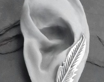 Sterling Ear Pin - FEATHER - Single Silver Ear Sweep Earring Handcrafted