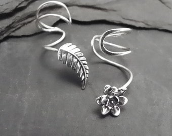 Silver Ear Cuff Pair PETALS & LEAF Asymmetrical Sterling Silver Ear Cuffs