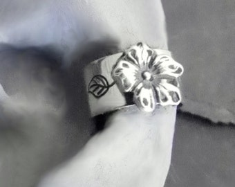 Sterling Flower Ear Cuff - BELLE - Silver Ear Band Wrap