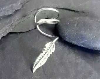 Sterling SMALL FEATHER Ear Cuff - 925 Solid Silver Ear Wrap