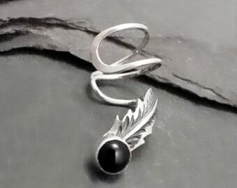 Sterling Black Onyx Feather Ear Cuff - RAVEN - Silver Ear Wrap