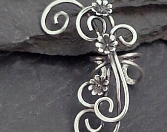 Sterling Flower Ear Cuff SECRET GARDEN Handcrafted Silver Ear Wrap