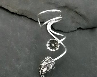 Silver Flower and Leaf Ear Cuff - BLOOMIN' - Handcrafted Sterling Ear Wrap
