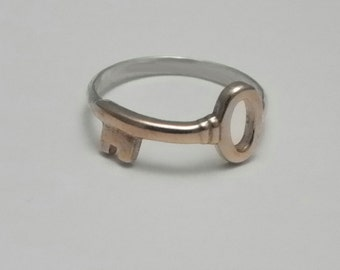 Brass and Sterling Ring - GOLDEN KEY - Silver Key Ring