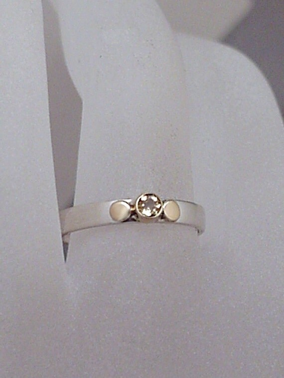 14K Sterling Silver Citrine Ring - WARMTH of the SUN - One of a Kind Ring