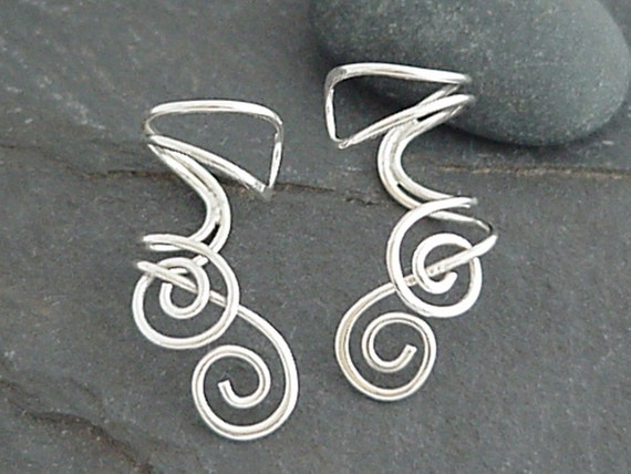 Sterling Ear Cuff Pair - ENTWINED - Handcrafted Silver Ear Cuffs