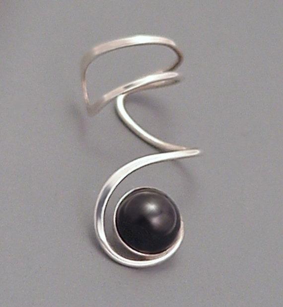 Sterling Black Onyx EAR CUFF - Silver Sidewinder Ear Wrap