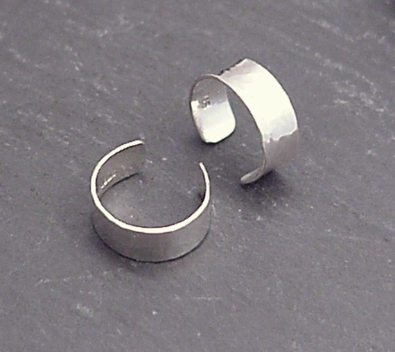 Sterling EAR CUFF PAIR - Narrow Silver Hammered Band Ear Cuffs