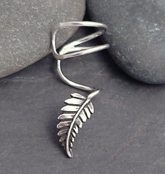 "Sterling Leaf EAR CUFF - ""New Leaf"" Swirly Silver Ear Cuff"