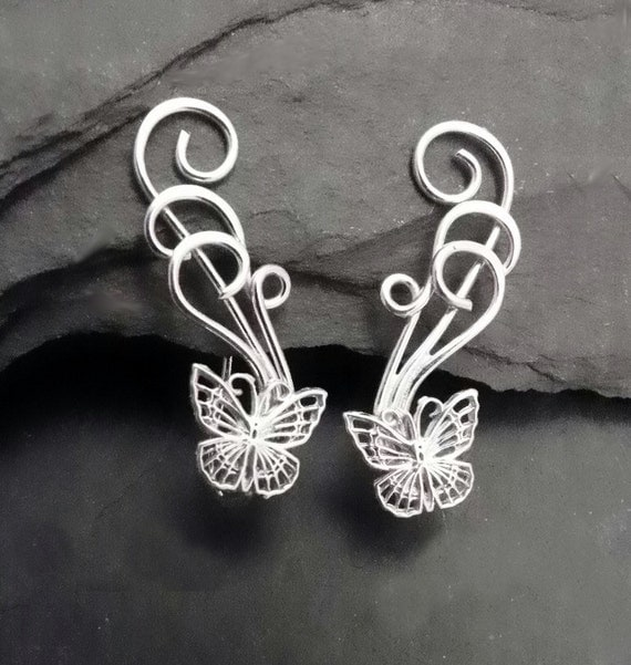 Butterfly Sterling Ear Pin Earrings   FLUTTERBY  Silver Ear Vine Sweeps