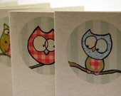 Owl Notecards on Recycled Paper - Set of 4 with envelopes