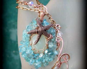 Aqua Blue Apatite Sea Star  Necklace