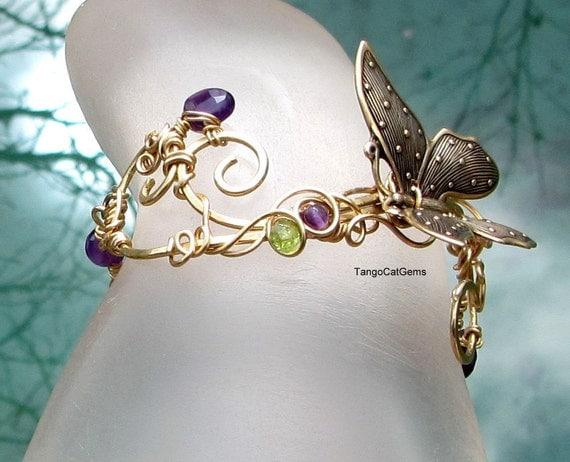 Amethyst and Butterfly Scroll Bracelet
