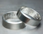6mm Secret Promise Rings - custom engraved with Calligraphy letter font - personalized  wedding ring set - Recycled sterling silver