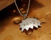 BANG -- Comic Book Charm Necklace on 18 inch sterling silver ball chain