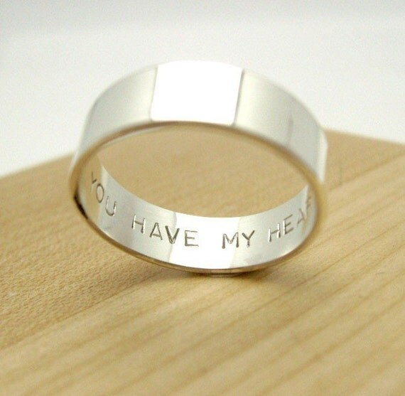 6mm You Have My Heart -  Secret Promise Ring - Choose Your Size - block letter font engraved - Recycled sterling silver