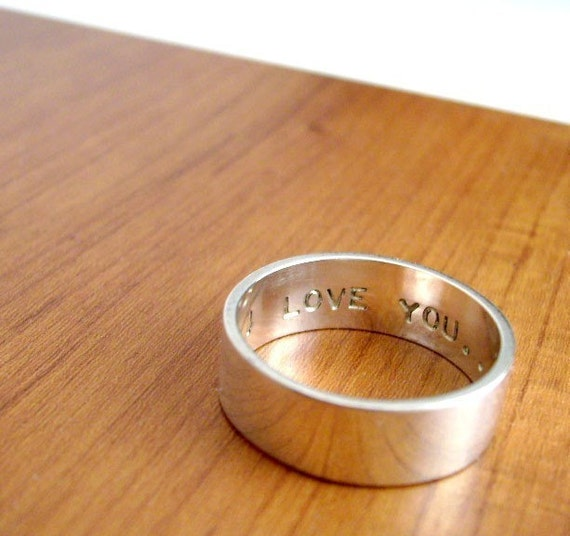6mm Personalized Secret Promise Ring --  with custom size and sentiment - Block lettering - Recycled sterling silver