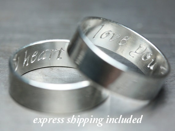 6mm  EXPRESS shipping order: Secret Promise Rings -- Custom TWO ring SET - Calligraphy Font - Recycled sterling silver