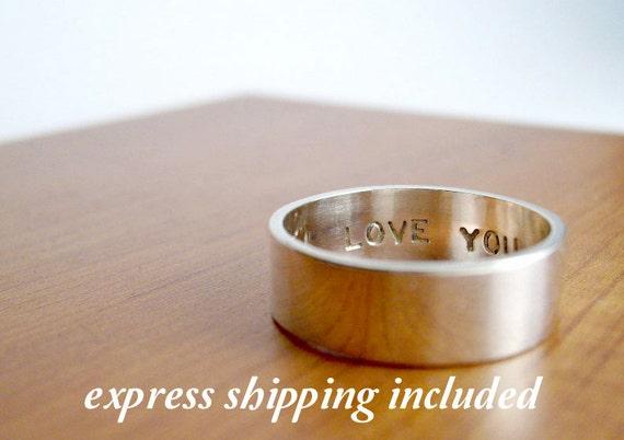 EXPRESS shipping order: Custom Secret Promise Ring - One Ring - block letter font