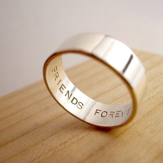 6mm Friends Forever - One Handmade Secret Promise Ring - Any Size - tiny block letter font - Recycled sterling silver
