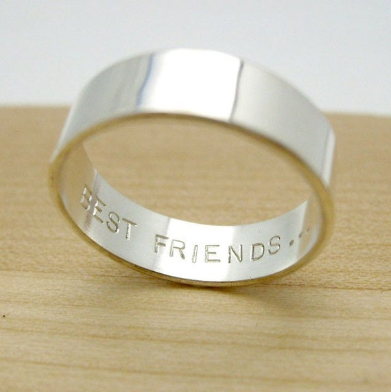 6mm Best Friends - Secret Promise Ring - one  ring with block letter font - Recycled sterling silver