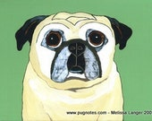 Pug Note Cards - 2 Designs - Senior Black and Fawn Pugs - A72 A73