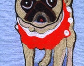 Note Cards - Yarn Painting - Fawn Pug in his Orange Crush Sweater Vest