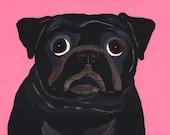 Pug Print - A50 - Black Pug