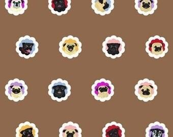 Pug Fabric - 16 Black and Fawn Pugs - 1 Yard - Groovy Pugs - Coffee Brown