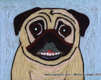 10 Note Cards - Yarn Painting - Smiling Pug