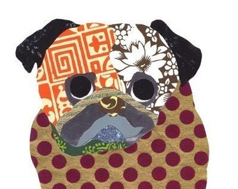 Pug Collage Print - A56 - Seen in The Film - Dogs In Art