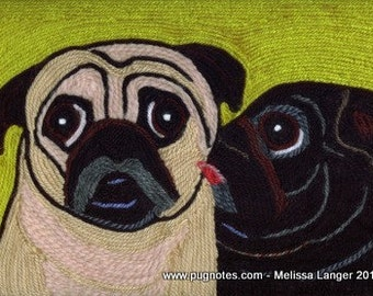 Note Cards - Yarn Painting - Black and Fawn Pugs - The Kiss
