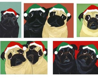 Holiday Pug Cards - Festive Black and Fawn Pugs in Pairs