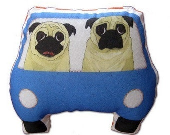 Pug Art Doll - 2 Fawn Pugs on a Joy Ride - Blue Car