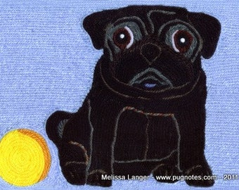 Pug Note Cards - Yarn Painting - Black Pug w/ Yellow Ball
