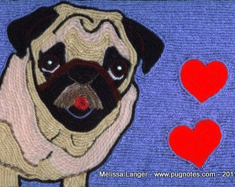 Note Cards - Yarn Painting - The Love Pug