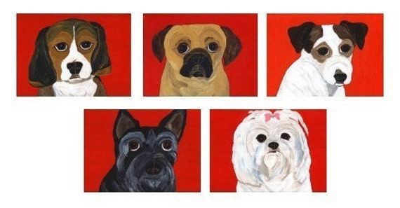 Beagle, Puggle, Jack Russell, Scottie, Maltese Note Cards - Set of 10 - Mix and Match