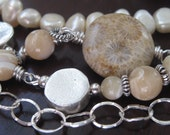 Freshwater Pearl,  Jasper and Mother of Pearl Long Necklace