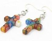 Milefiori Cross Earrings