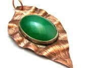 Copper Leaf Pendant Handmade Textured and Etched Copper Leaf Pendant with Large Green Stone